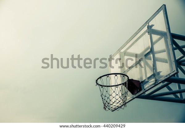 Sports. Basketball hoop with blue sad tone