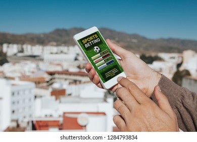 Sports betting app in a mobile phone screen.