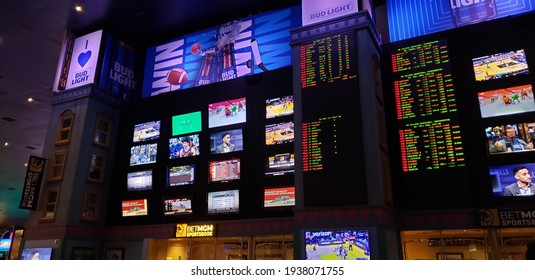 Sports betting board at the New York New York Casino and Hotel. Las Vegas, Nevada. March 14, 2021