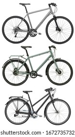 sports bike, a set of three bicycles isolated on a white background