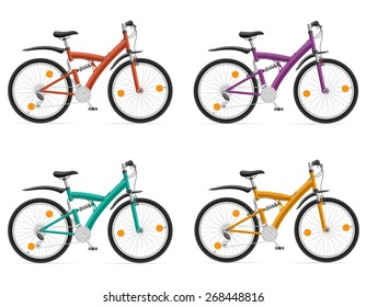 sports bikes with the rear shock absorber illustration isolated on white background