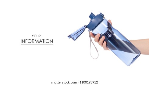 Sports bottle blue in hand pattern on white background isolation
