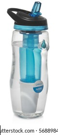 Sports bottle with a water filter. Water bottle filters the water to clean, drinkable. Filled with water. Plastic transparent blue and black isolated on a white background with slight reflection.