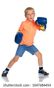 Sports boy in boxing gloves. The concept of a harmonious development of the child, a healthy lifestyle. Isolated on white background.