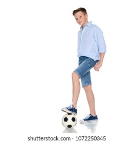 Sports boy teenager with a soccer ball. The concept of a healthy lifestyle, sport and fitness. Isolated on white background.
