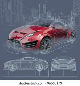Car drawing images stock photos vectors shutterstock sports car blueprint original car design malvernweather Images
