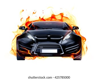 Sports car and fire flames. Brandless car. 3D illustration.