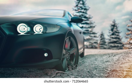 Sports car front There is a winter background with snow and a Christmas tree. 3d rendering and illustration.