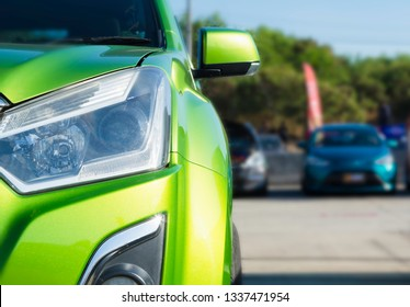 sports car and Used cars, parked in the parking lot of Dealership waiting to be sold and delivered to customers and waiting for the auction with the trading concept and auction in Automotive Industry