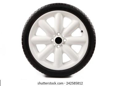 sports car white alloy wheel on white background