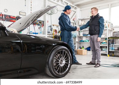 Sports car in a workshop