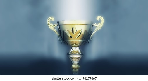 sports concept low key image of gold trophy over dark smoky background