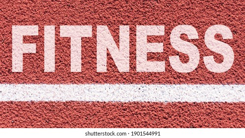 Sports concept. On the treadmill along the white line it says - Fitness