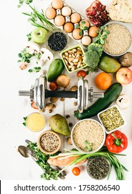 Sports Diet Nutrition for Athletes Top View on Raw Health Products - Shutterstock ID 1758206540