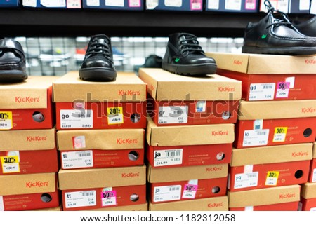 78419d7d Sports Direct - Stoke on Trent - Staffordshire - 17th September 2018 - Boys  and girls Kickers School shoes, footwear on sale before the new school year  ...