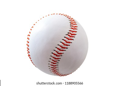 Sports equipment and american leisure activity concept with a white leather ball used in the game of baseball isolated on white background with a clip path cutout