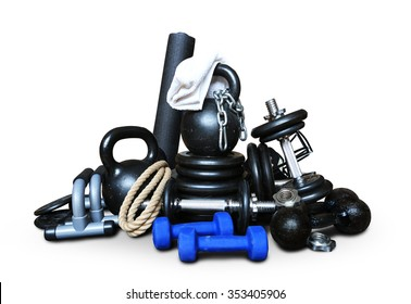 Sports equipment for bodybuilding collected in a heap