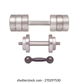 Sports equipment - different weight dumbbells on a white background