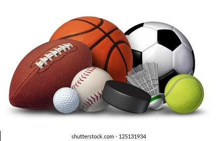 Sports equipment with a football basketball baseball soccer tennis and golf ball and badminton hockey puck as healthy recreation and leisure fun activities for team and individual playing for health.