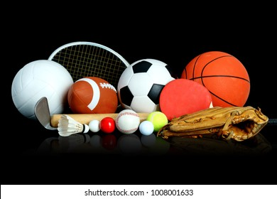 Sports Equipment on black background