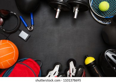 Sports equipment on a black background. Top view.