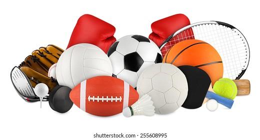 sports equipment on white background