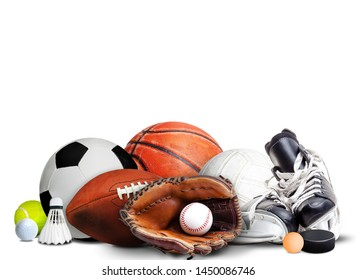 Sports equipment, rackets and balls for all seasons isolated on white background and copy space.