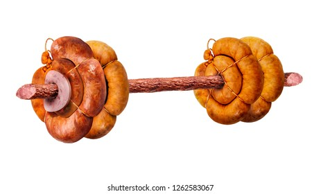 Sports equipment weight in the form of sausage. Meat product in the form of a sports object. Sport. Health. Nutrition. Image on a white background. Isolated image.
