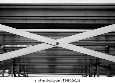 Sports Event Spectators Bleacher Rows Underneath Seats and Risers Black and White