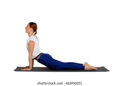 sports exercise isolated on white background. Beautiful woman dressed in sportswear, trains flexibility of the body.