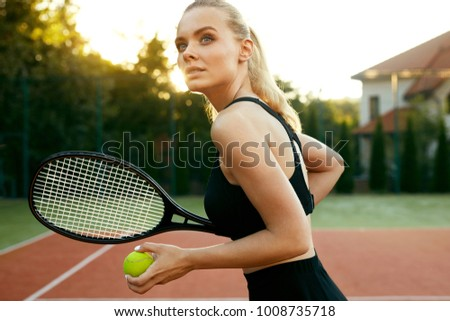 Sports Fashion Beautiful Woman On Tennis Stock Photo Edit Now