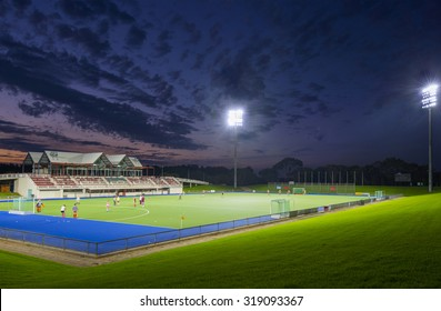 Sports field with lights at night