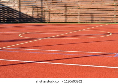 Sports field lines on the outdoor playcourt