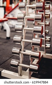 Sports fitness equipment dumbbell fit in a row