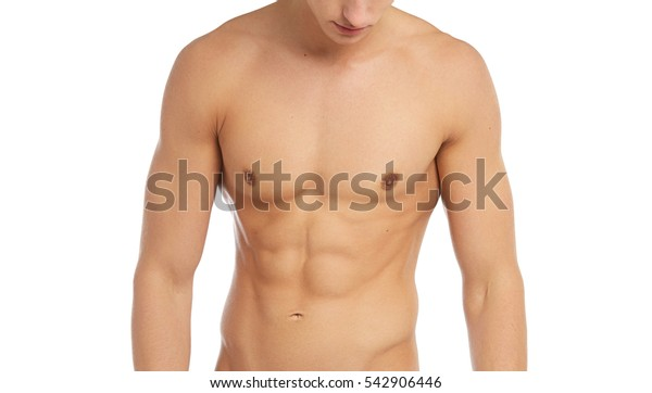 Sports and fitness topic: naked sporty muscular man standing isolated on white background in the studio, human anatomy
