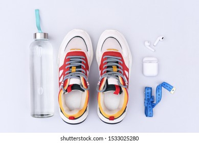 Sports flat lay on a light gray background.
