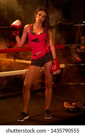 sports girl boxing in the ring