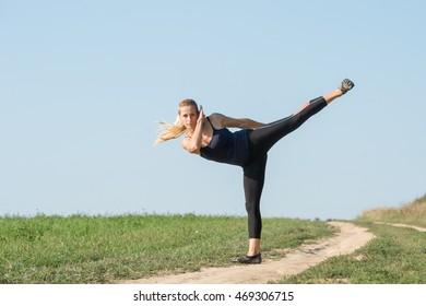 Sports girl doing exercises