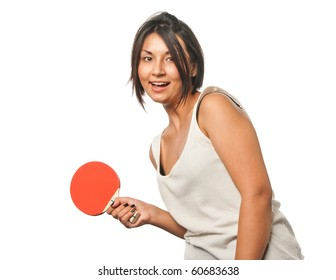 Sports girl plays table tennis
