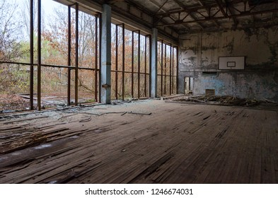 """Sports Hall of swimming pool """"Azure"""" in dead abandoned ghost town of Pripyat in Chernobyl NPP alienation zone, Ukraine"""