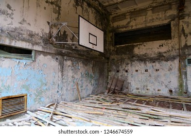 "Sports Hall of swimming pool ""Azure"" in dead ghost town of Pripyat in Chernobyl NPP alienation zone, Ukraine"