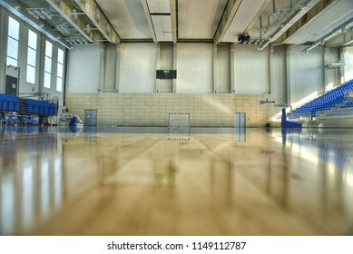Sports Hall, tiled floor, basketball, voleyball, handball, bleacher, score board
