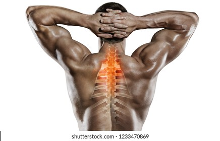 Sports and healthcare. Spine pain.