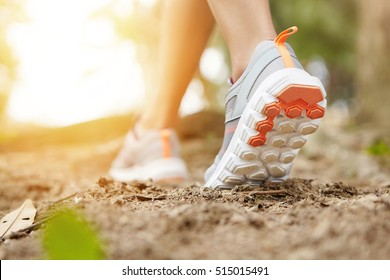 Sports and healthy lifestyle concept. Cropped shot of sporty girl in running shoes as she doing physical exercises in forest or city park. Woman runner jogging outdoors. Flare sun, selective focus