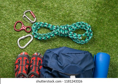 sports kit for extreme recreation in the wild, on a green lawn, for mountaineering