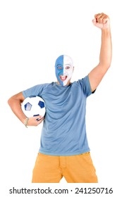 sports man fan with face painted isolated in white
