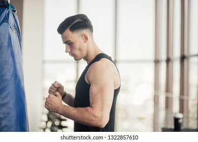 sports man in the gym, perfect body