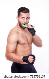 sports man with Mouthguard