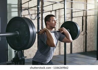 Sports Man Training, Lifting Barbell Row