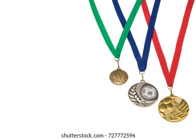 Sports medals isolated over white, with space for text